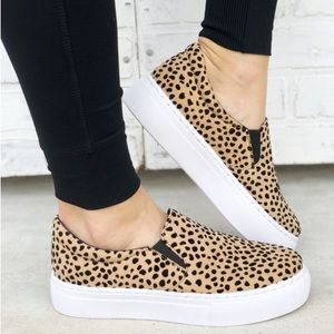 Cheetah print  platform slip on
